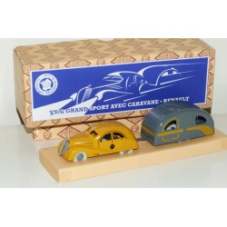 CIJ Renault Viva Grand Sport & Caravane Clockwork Tinplate Car Set